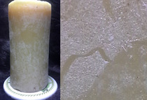 aged pure beeswax candle showing white film called bloom